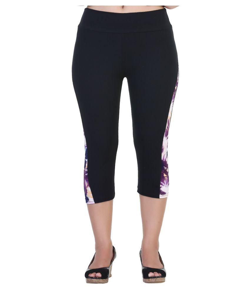 Fit 'N' You Black Poly Viscose Capris