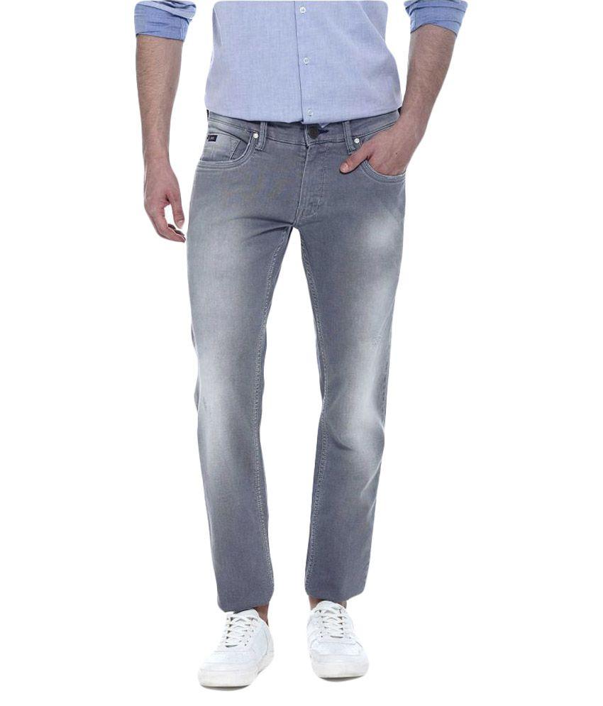 Basics Grey Slim Solid Men's Jeans