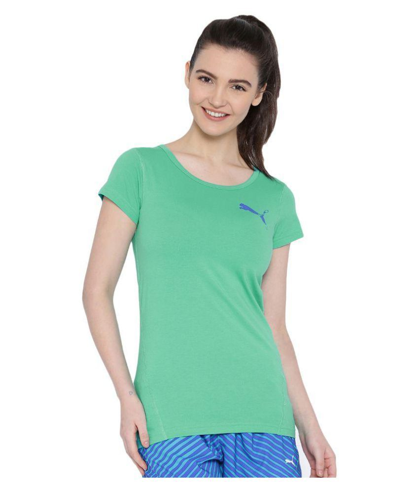 Puma Womens Green Essential Crew Tee T-shirt