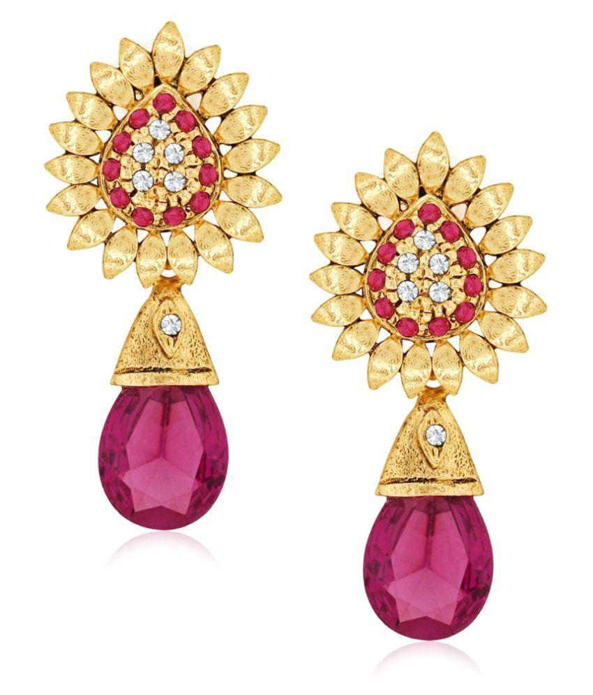 Spargz Designer Pink Brass Cubic Zircon Drop Earring For Women AIER 565