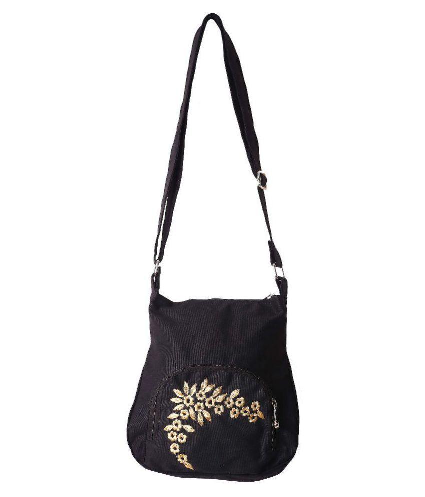 BAG FACTORY Black Canvas Sling Bag
