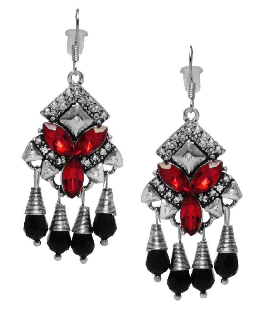 Jewelz Silver Stone Studded Hanging Earrings