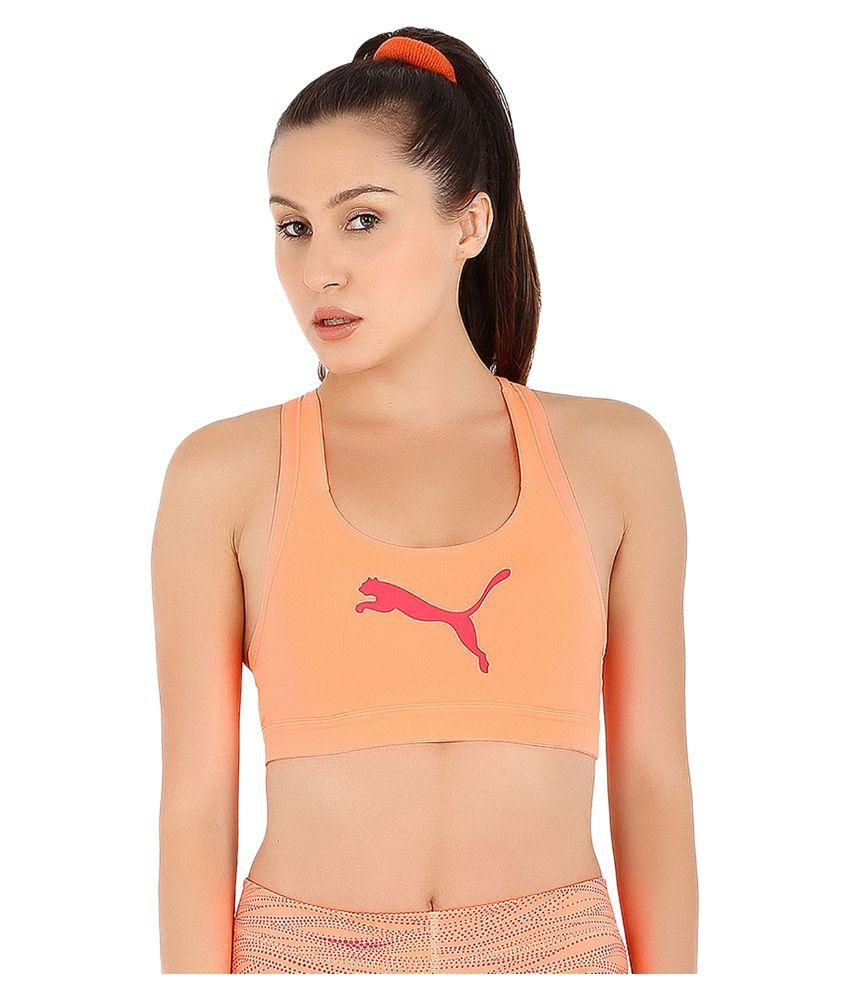 Puma Orange Polyster Sports Bra