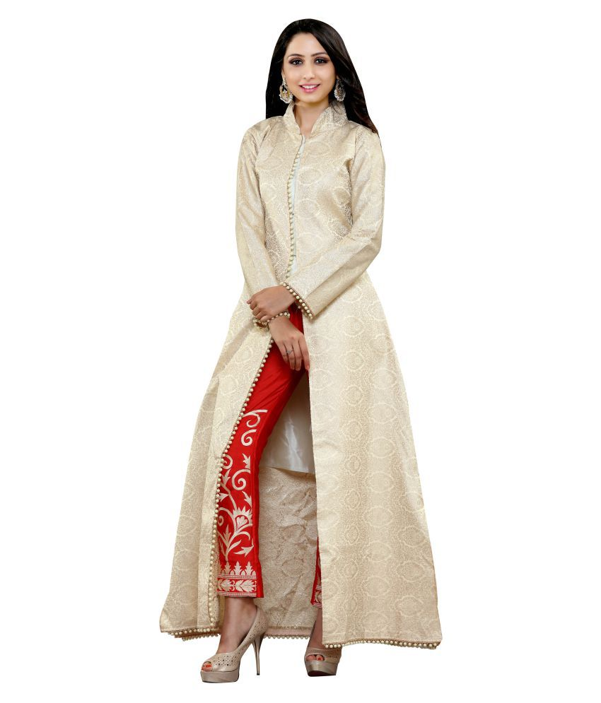 RG Designers Beige Georgette Dress Material