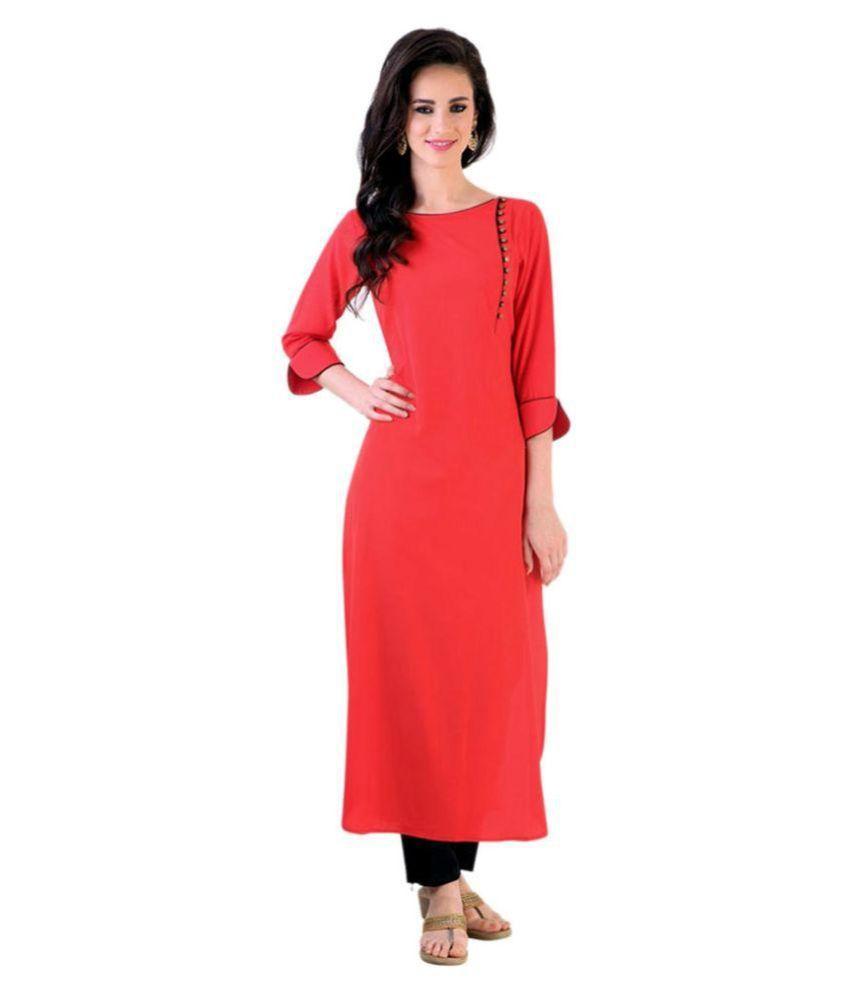 Royal Fashion Red Cotton Straight Kurti