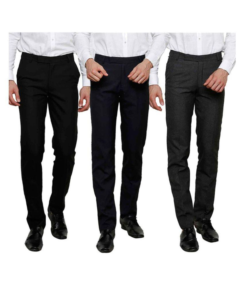 Club Marco USA Black Regular Flat Trouser