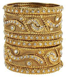 MUCH MORE 18k Antique Gold Plated Kada Metal Bangles Set For Women