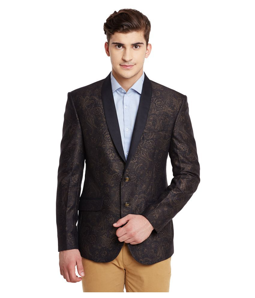 Canary London Brown Printed Casual Blazers