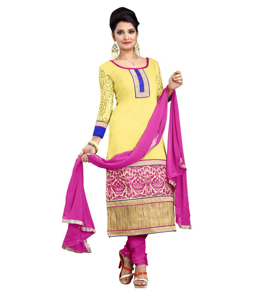 Multi Retail Yellow Chanderi Dress Material