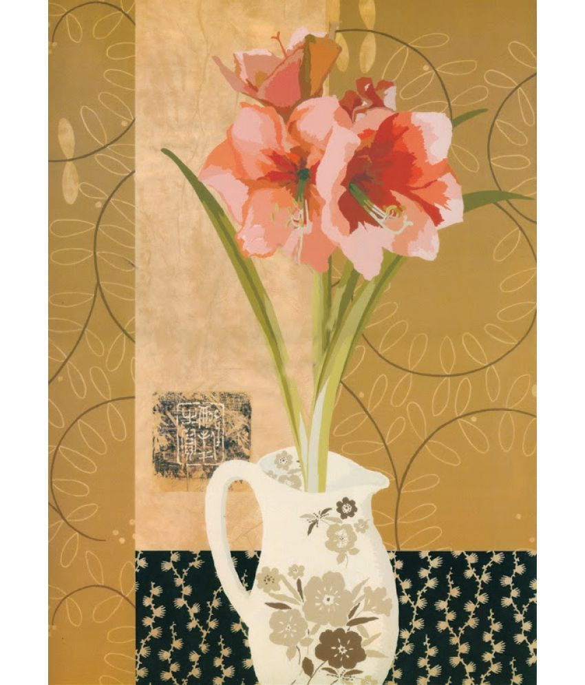 Vitalwalls Floral Paper Art Prints With Frame Single Piece