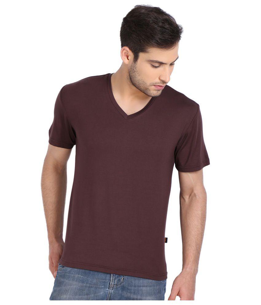 Yoo Maroon V-Neck T-Shirt