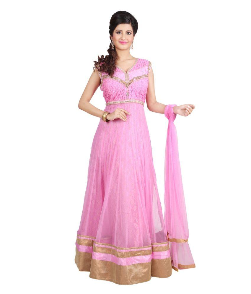 Sharmili Pink Net Anarkali Stitched Suit