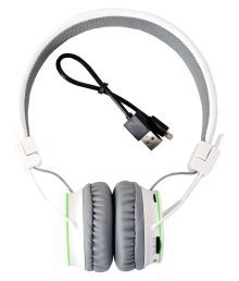 High Coins USHT11 On Ear Wired Headphones With Mic White