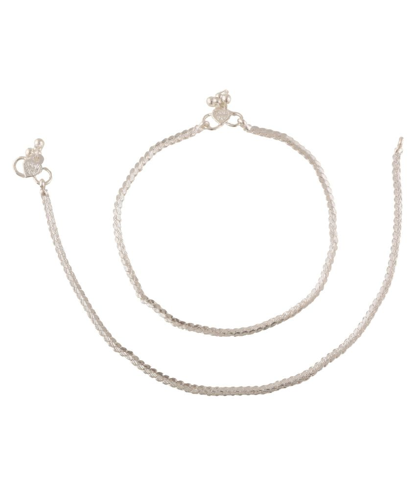 Fashionaya Silver Pair of Anklets