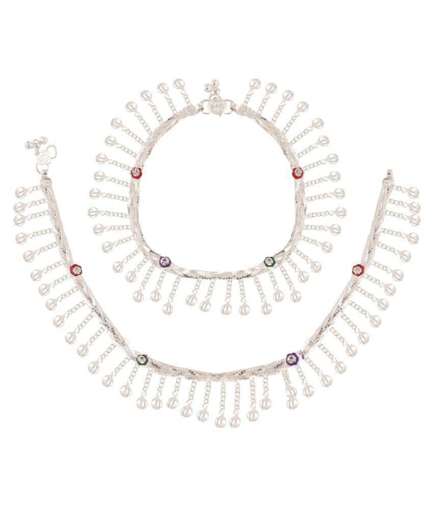 Fashionaya Silver Plated Zig-Zag Bells Alloy Anklet