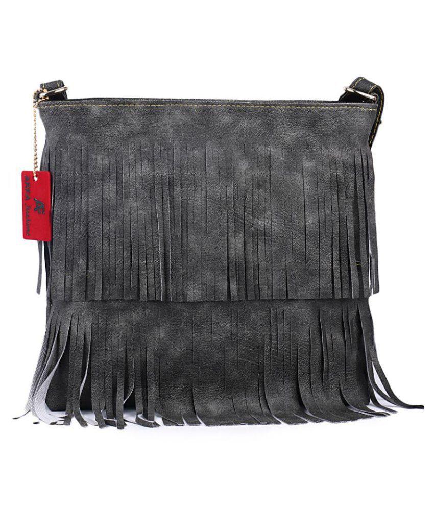 Arfa Fashions Gray P.U. Sling Bag