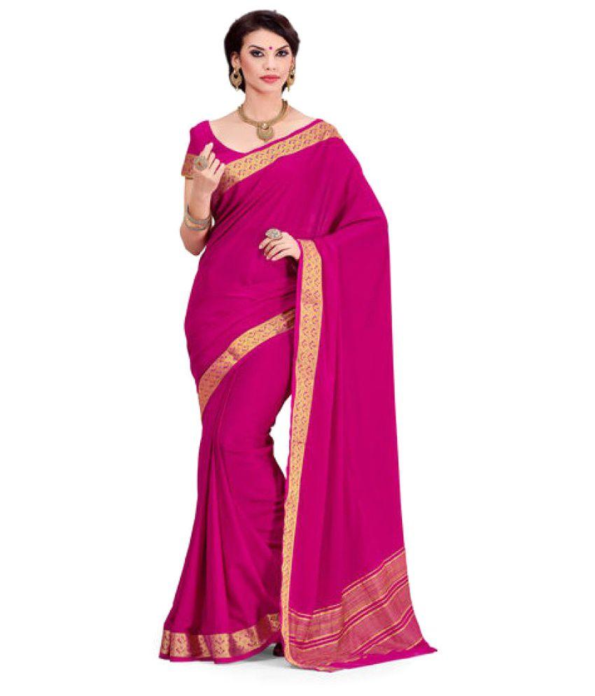 Rajshri Fashions Pink Cotton Saree