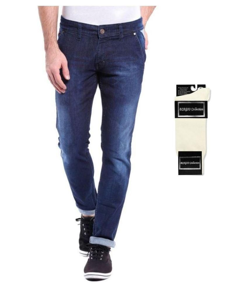 Urbano Fashion Blue Slim Fit Faded Jeans With Free 1 Pair Of White Socks