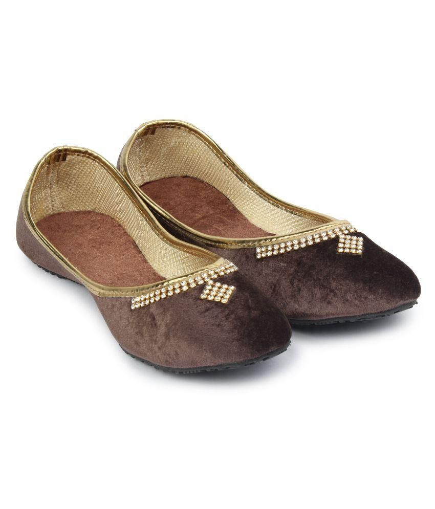 Wanderlust Copper Suede Brown Studded Women Jutti