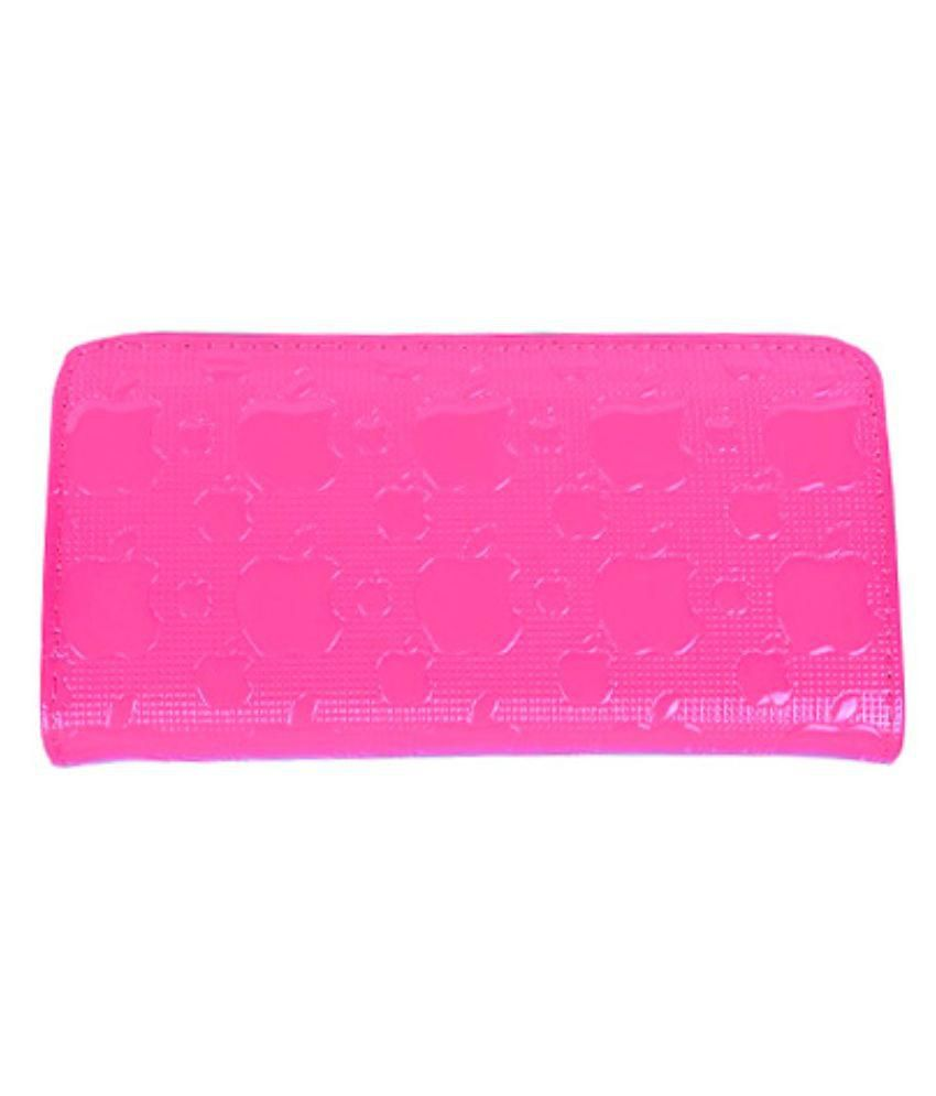 Apple Cut Pink Non Leather Long Wallet For Women