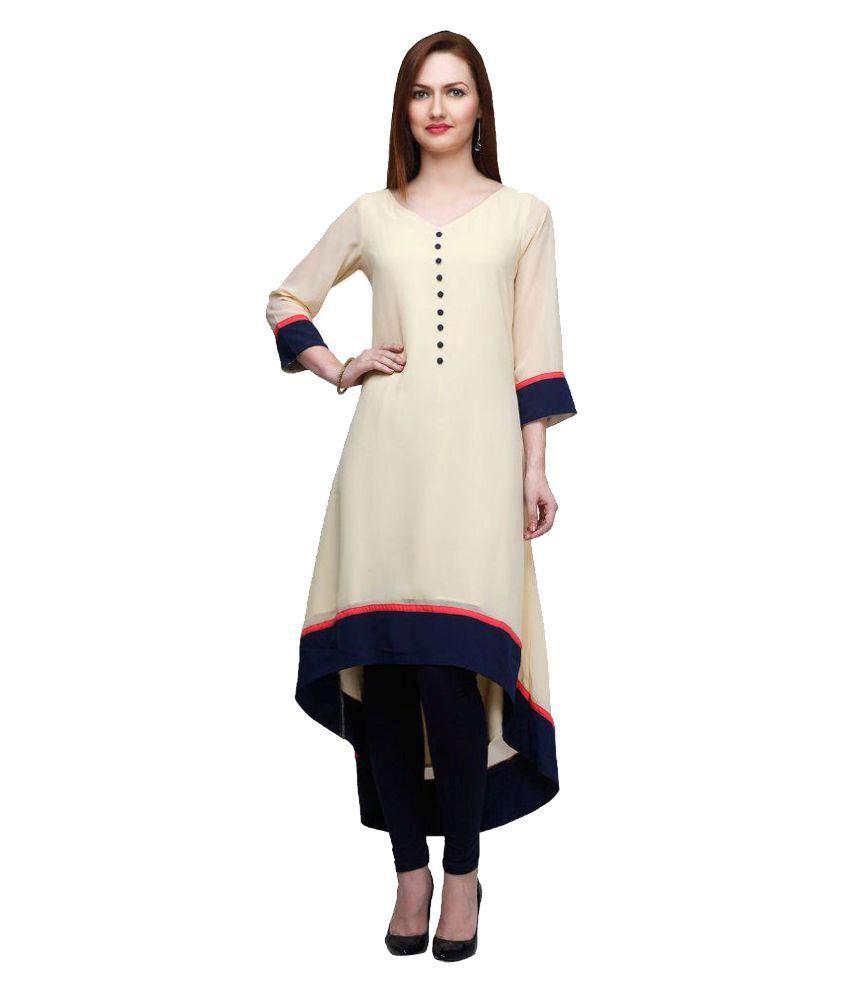 Royal Fashion Off White Rayon High Low Hemline Kurti