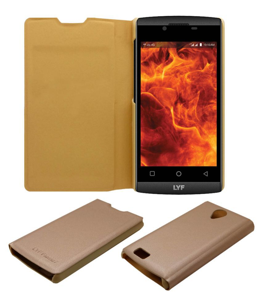 Lyf Flame 7 Flip Cover by ACM - Golden