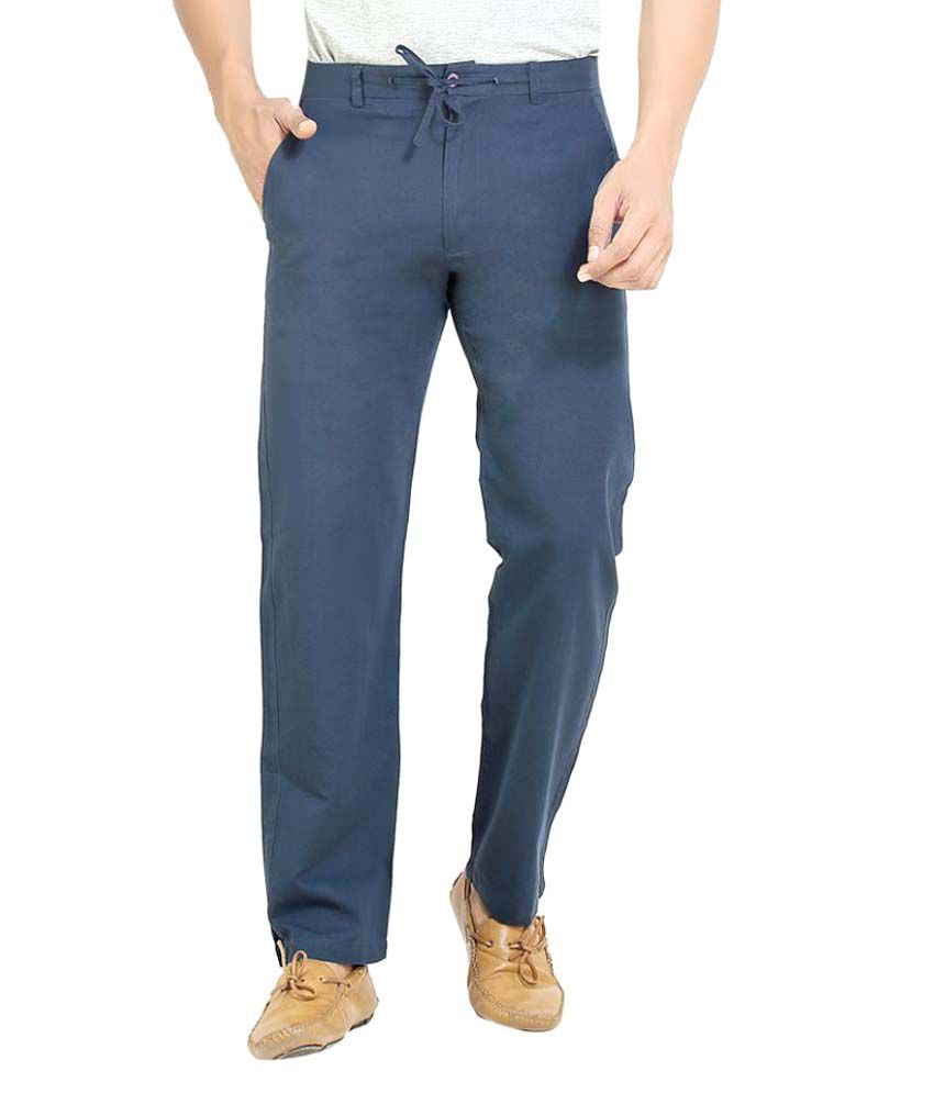 London Bee Navy Blue Regular Flat Trouser
