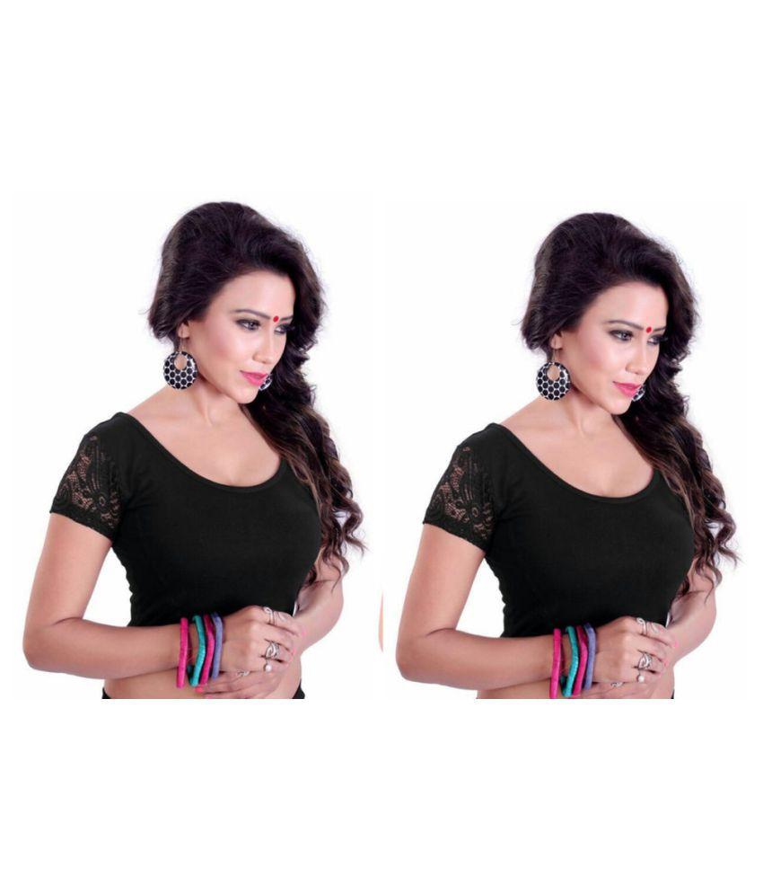 Fressia Fabrics Black Round Shape Back Blouse