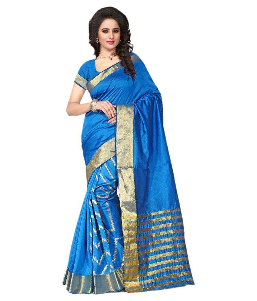 KT Fashion Blue Cotton Silk Saree