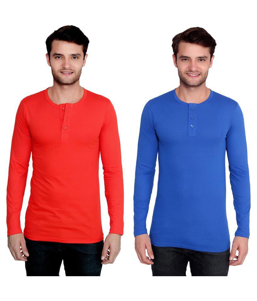 Ansh Fashion Wear Multi Henley T-Shirt Pack of 2