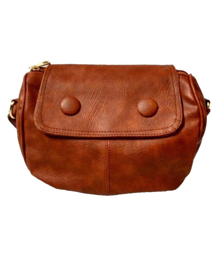 Craveforit Brown P.U. Sling Bag - Buy Craveforit Brown P.U. Sling ...