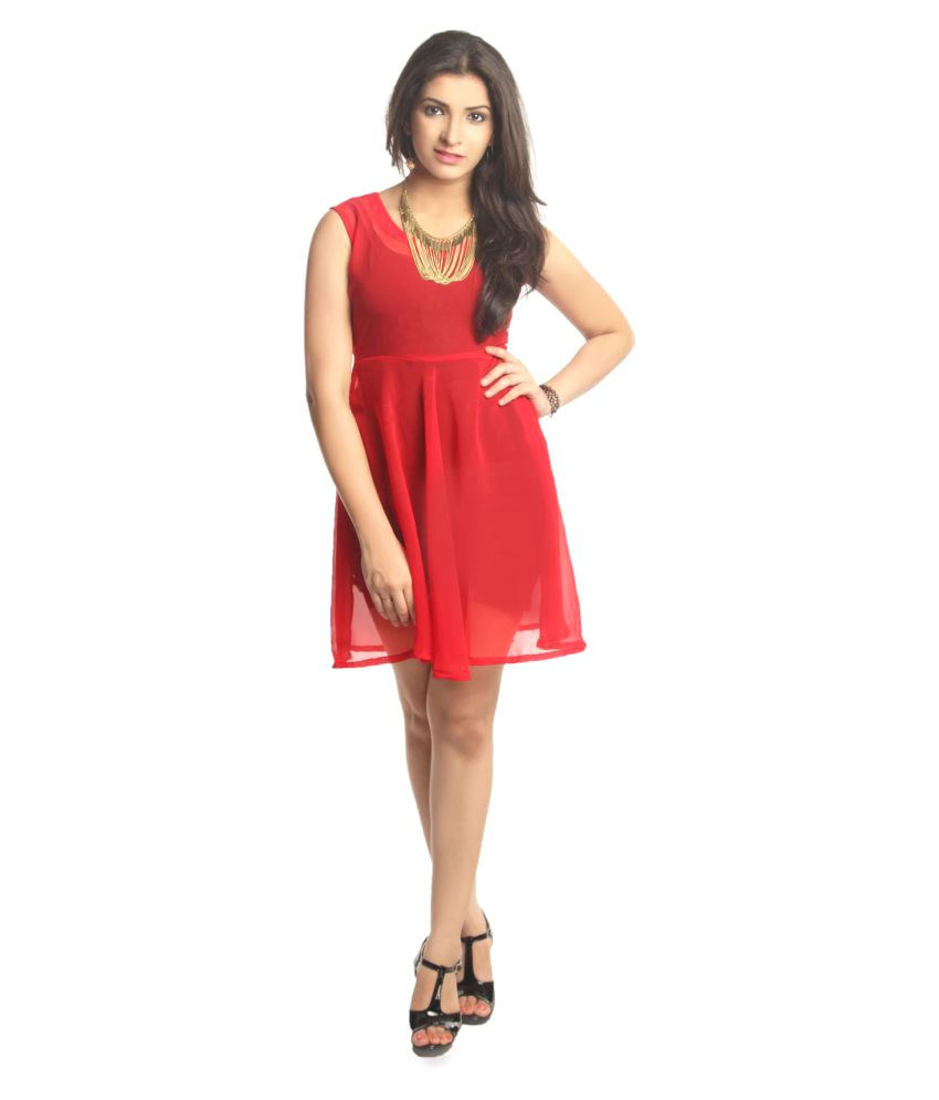 Glitzy by Roohie Red Georgette Dresses
