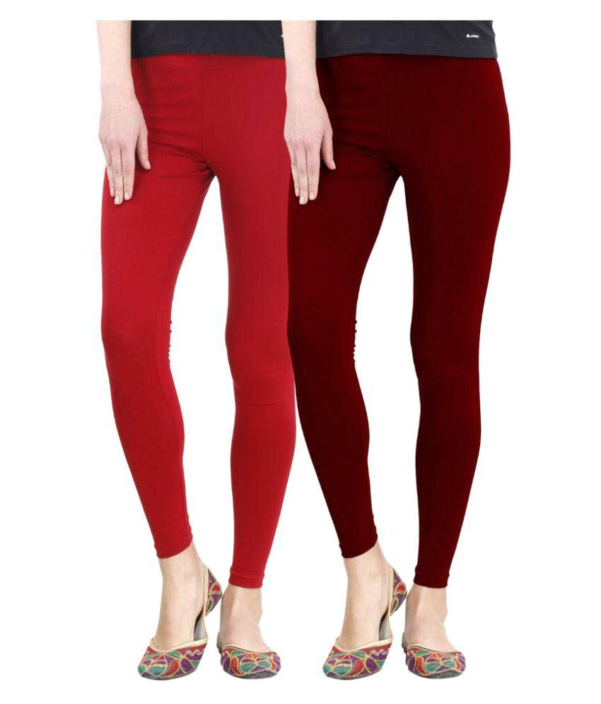 FashGlam Cotton Ankle Length Leggings - Combo - Red,Maroon