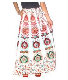 Jaipur Skirt White Cotton A-Line Skirt