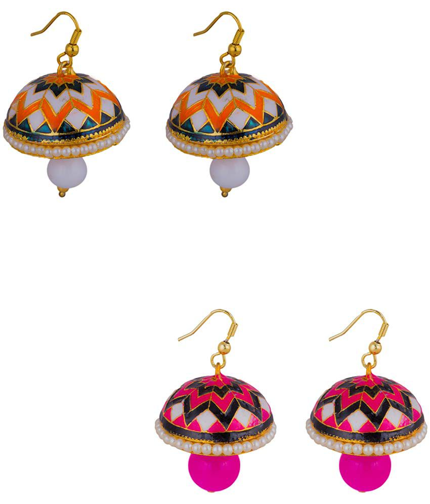 Makezak Multicolour Jhumki - Set of 2