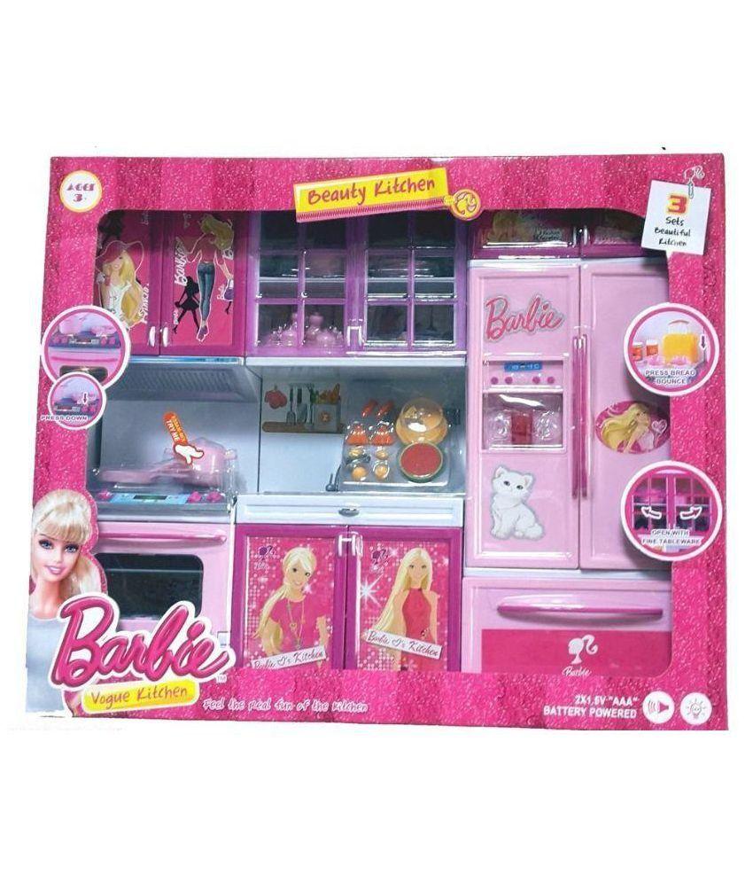 Kitchen Set Of Barbie: Param Multicolor Barbie Kitchen Set