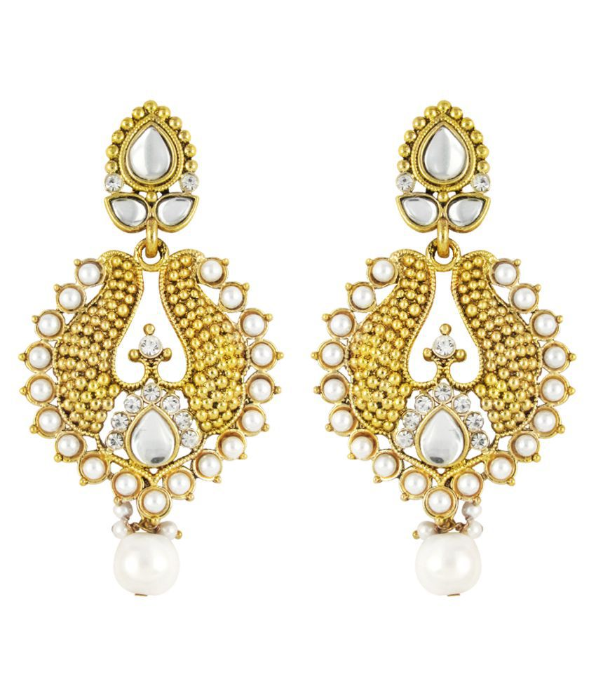 Parisha Crystal Studded Golden Earings
