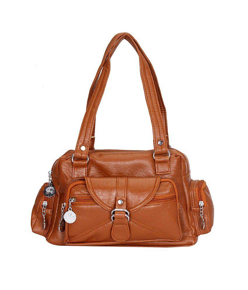 Papsara Brown Faux Leather Shoulder Bag