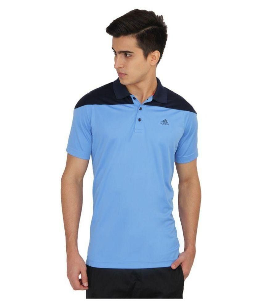 Adidas Blue Regular Fit Polo T Shirt