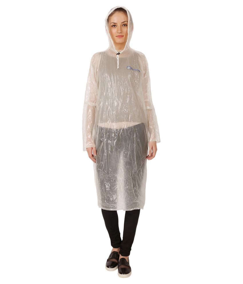 Zeel White Nylon Long Raincoat