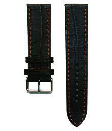 Flux Black Leather Watch Strap