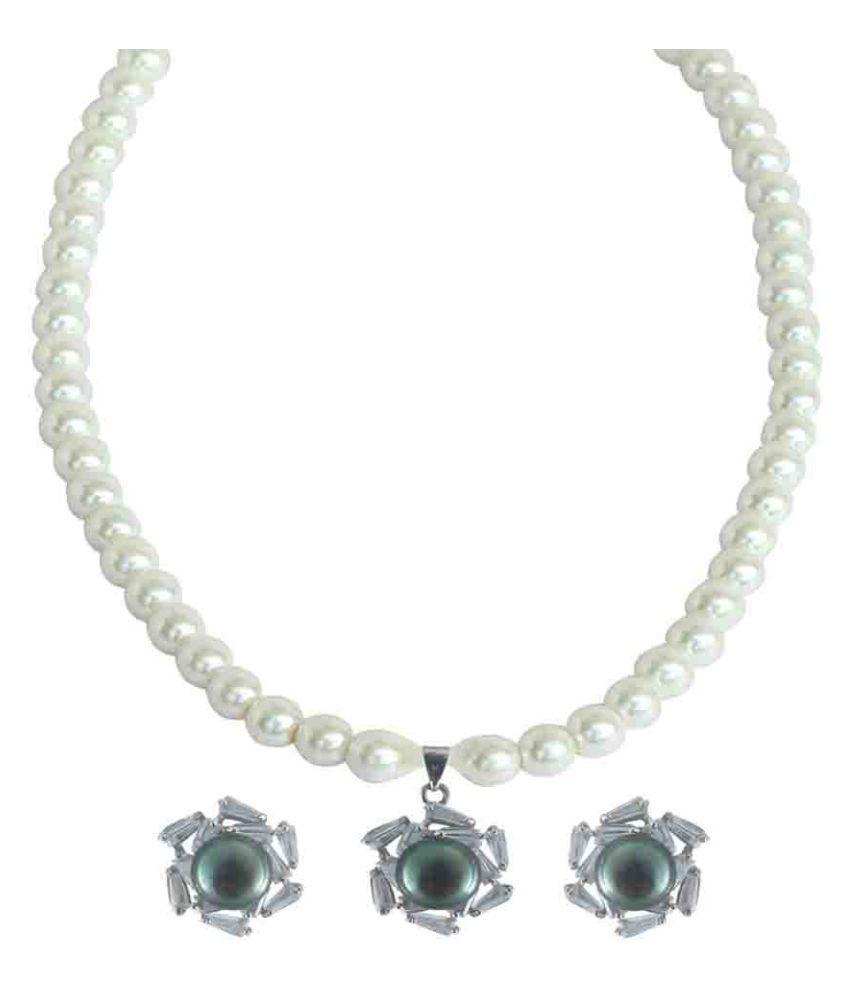 Rejewel White Necklace Set
