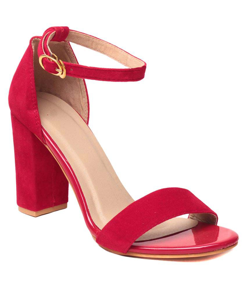 8b92a8a23a Klaur Melbourne Red Block Heels Price in India- Buy Klaur Melbourne Red  Block Heels Online at Snapdeal