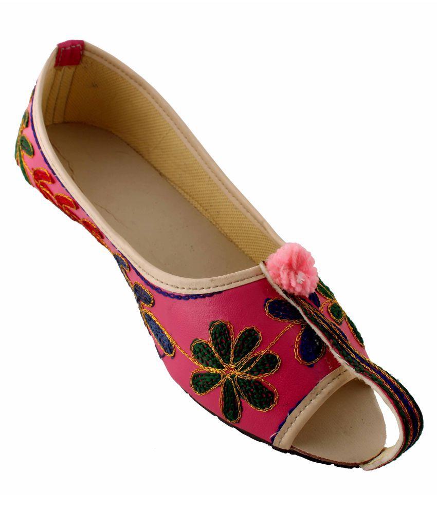 Neerupam collection Pink Flat Ethnic Footwear