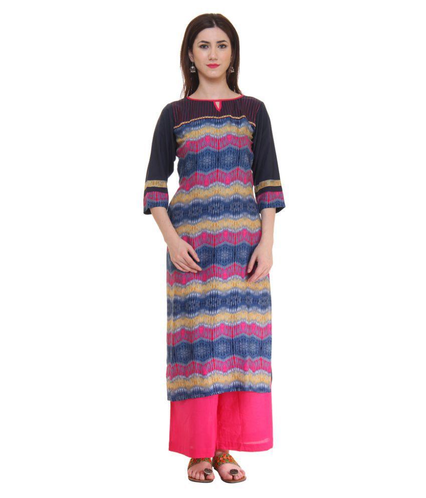 Shree Multicoloured Rayon Straight Kurti