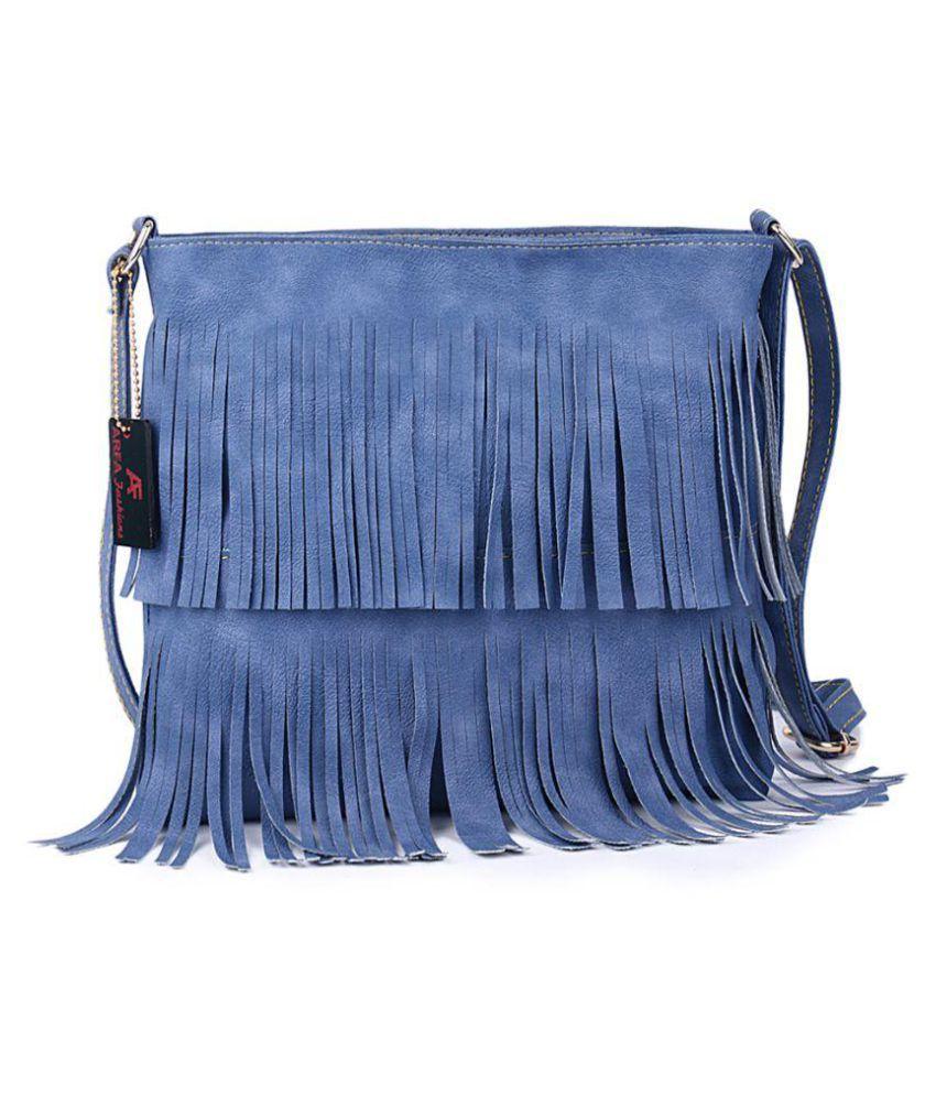 Arfa Fashions Blue P.U. Sling Bag
