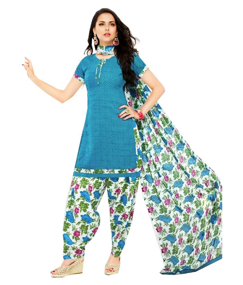 Jayanti's Blue Cotton Straight Stitched Suit