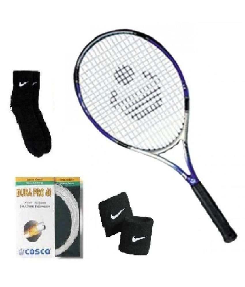 Combo of Cosco Power Beam Tennis Racquet with Extra String (Dura Pro) & Pair of Socks & Wristband