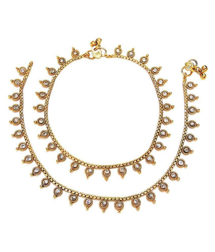 Satyam Jewellery Nx Golden Anklets