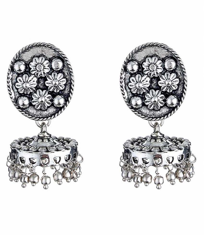 Watch Me Silver German Silver Jhumki Earring
